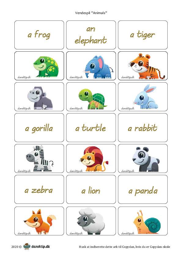 Kopiark/opgave:Vendespil animals 1