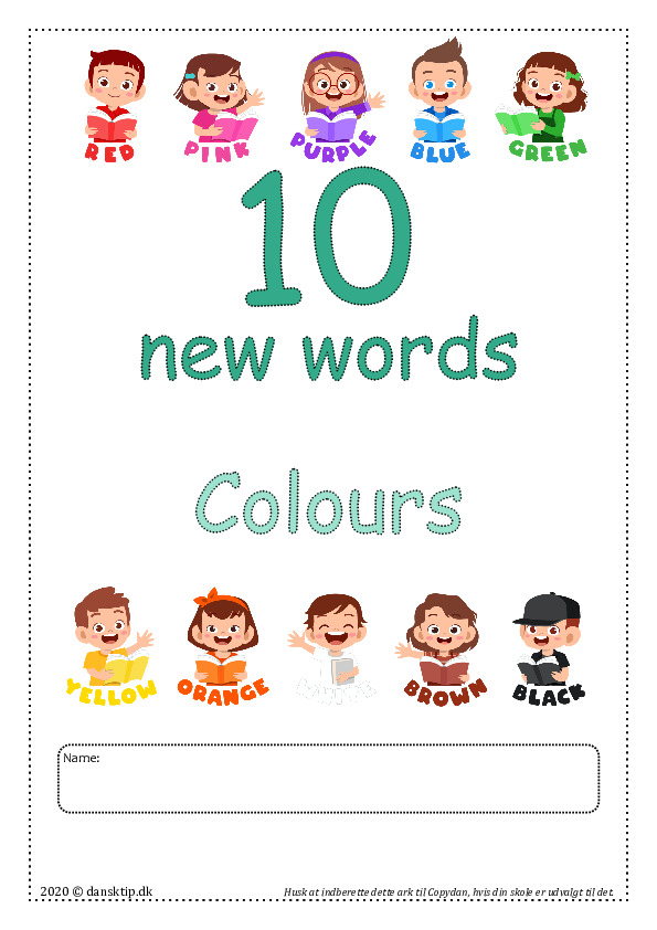 Kopiark/opgave:10 new words colours