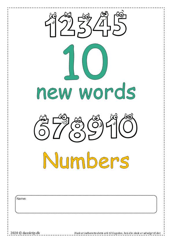 Kopiark/opgave:10 new words  numbers