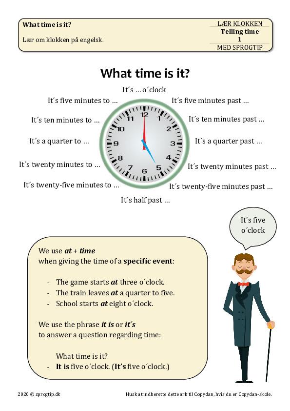 Kopiark/opgave:Telling time 1