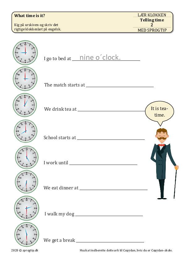 Kopiark/opgave:Telling time 2