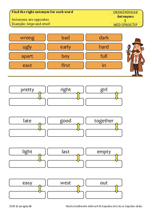 Kopiark/opgave:Antonyms 1