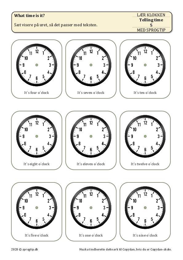 Kopiark/opgave:Telling time 5