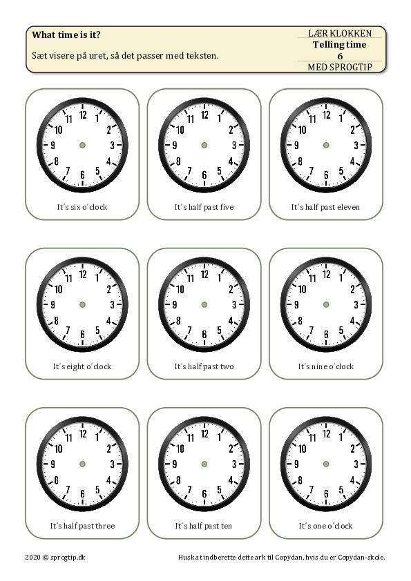 Kopiark/opgave:Telling time 6
