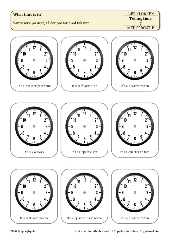 Kopiark/opgave:Telling time 7