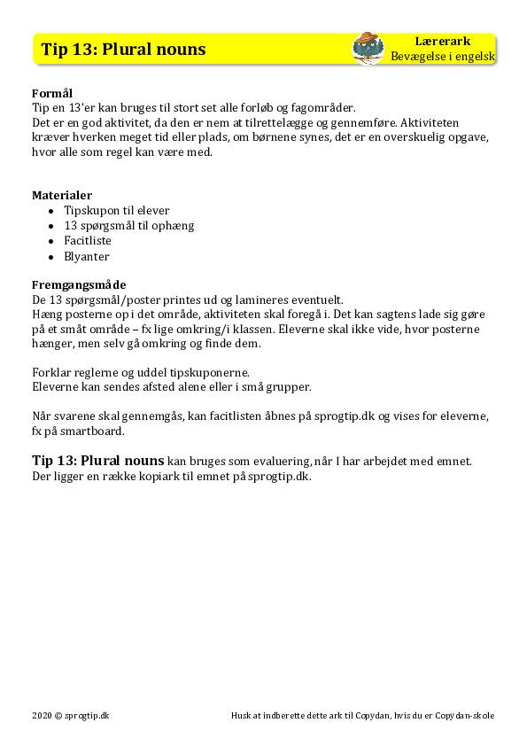 Kopiark/opgave:Tip 13 plural nouns