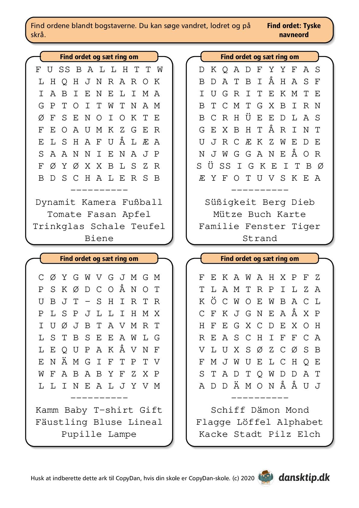 Kopiark/opgave:Find ord tysk lille 2