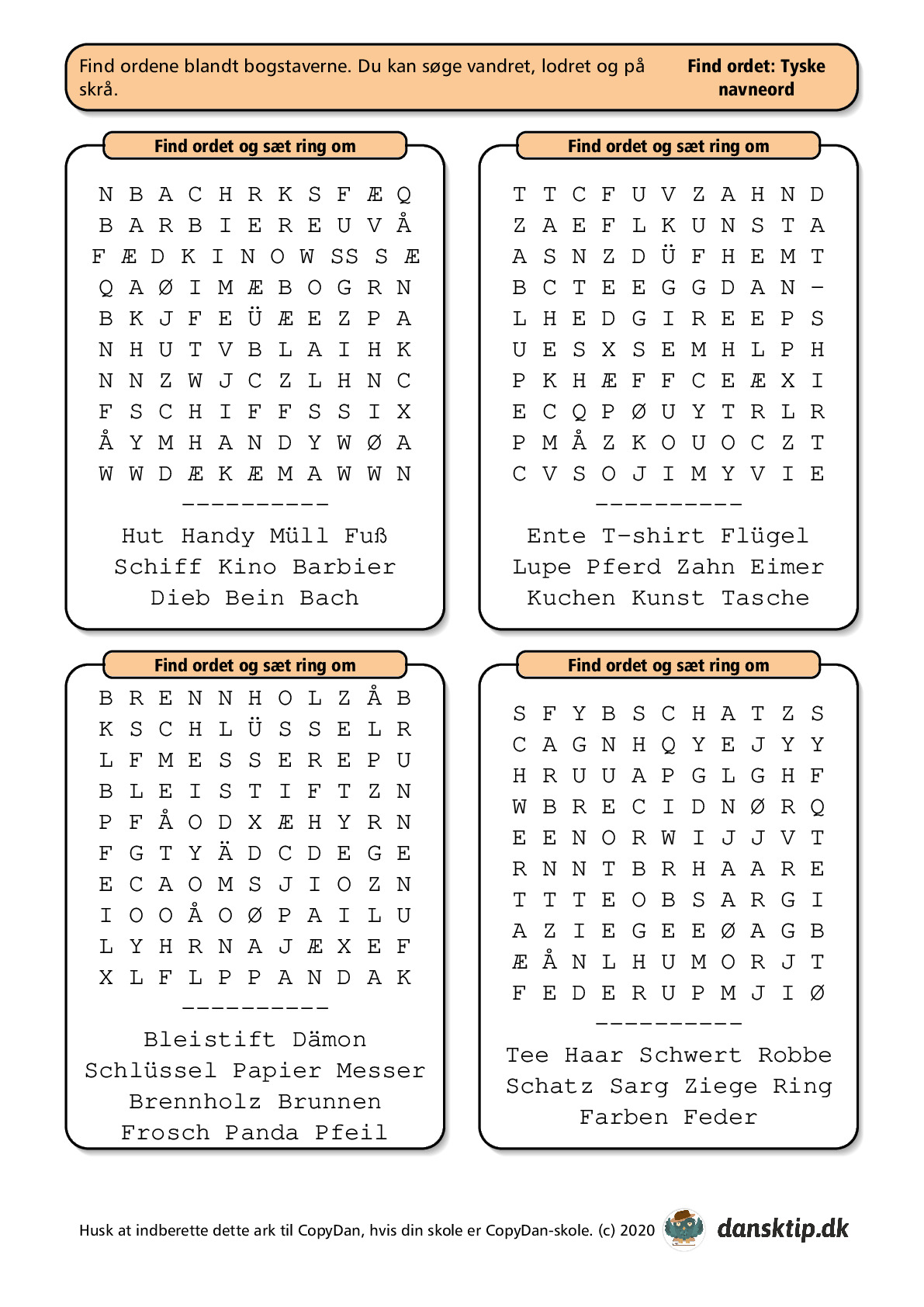 Kopiark/opgave:Find ord tysk lille 1
