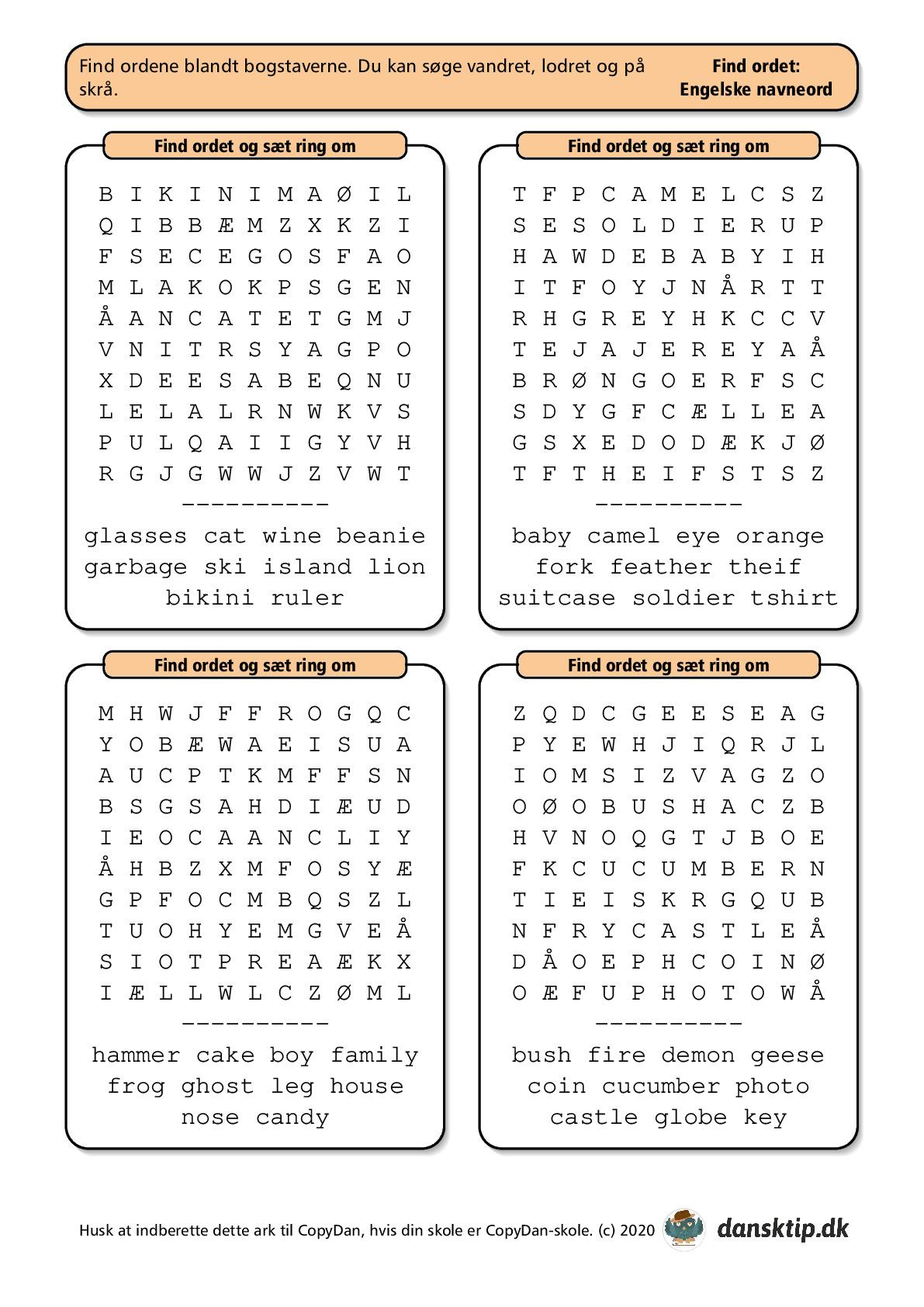 Kopiark/opgave:Find ord engelsk lille 1
