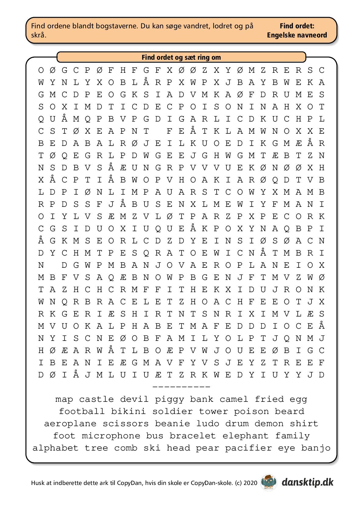 Kopiark/opgave:Find ord engelsk stor 1