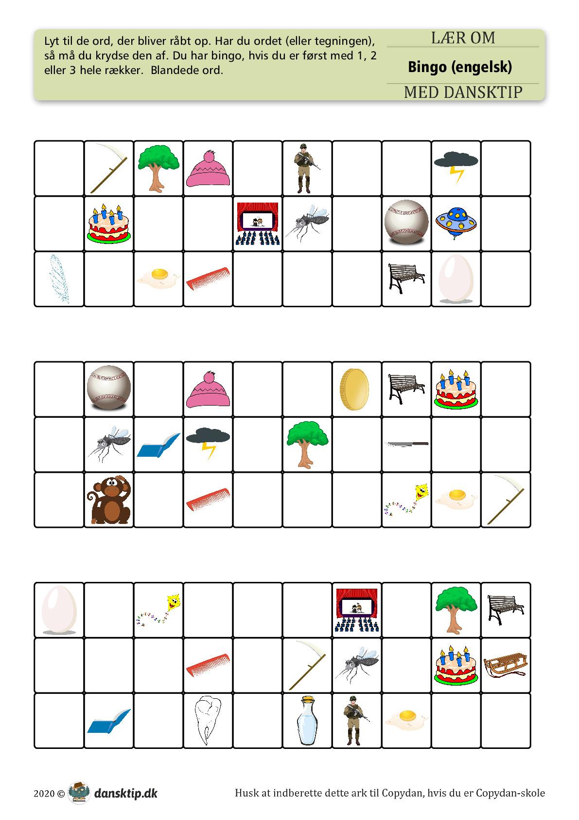 Kopiark/opgave:Bingo engelsk 25 ord mix 2