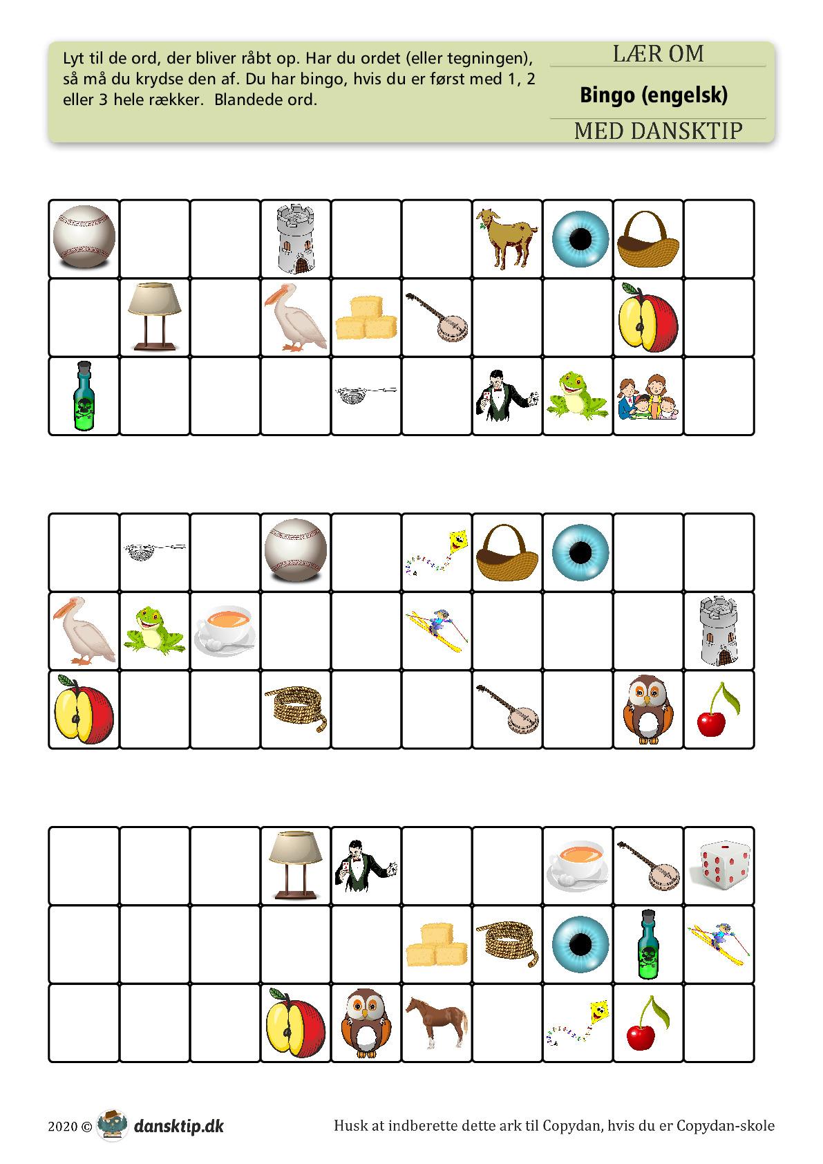 Kopiark/opgave:Bingo engelsk 25 ord mix 1