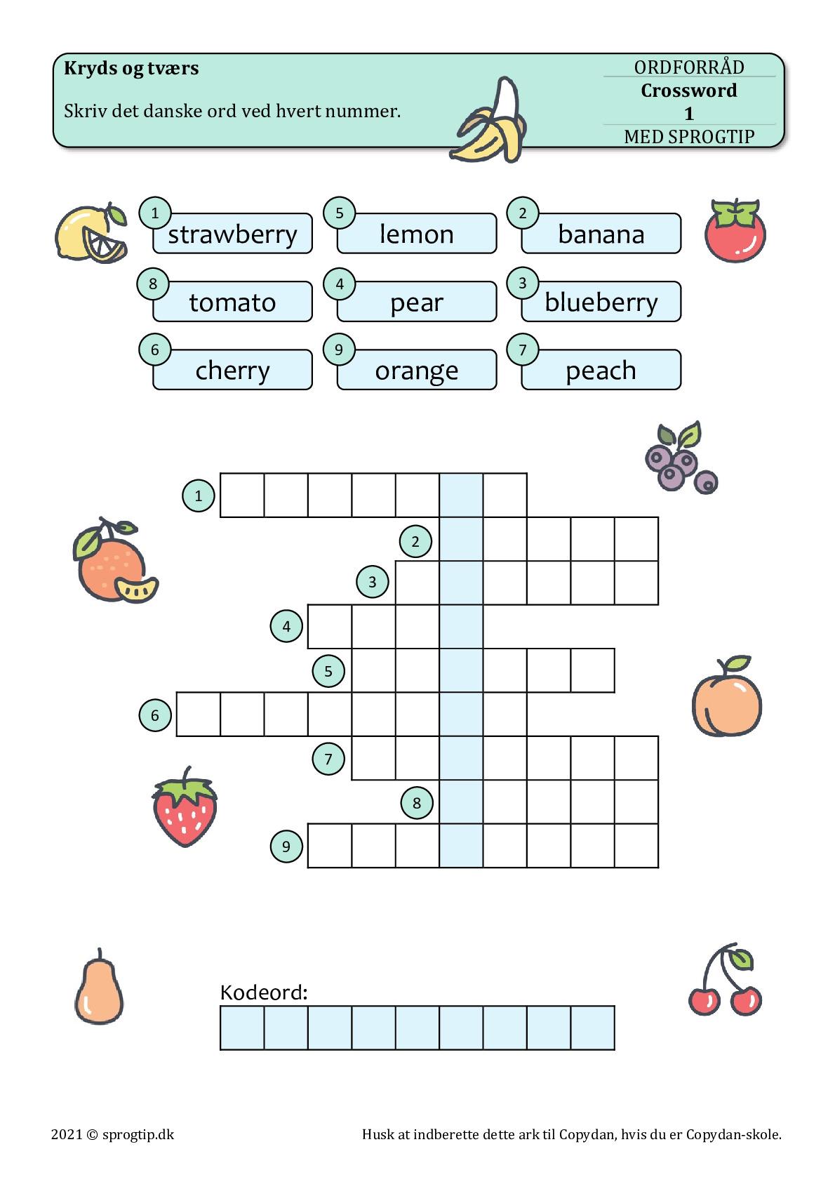 Kopiark/opgave:Crossword fruits