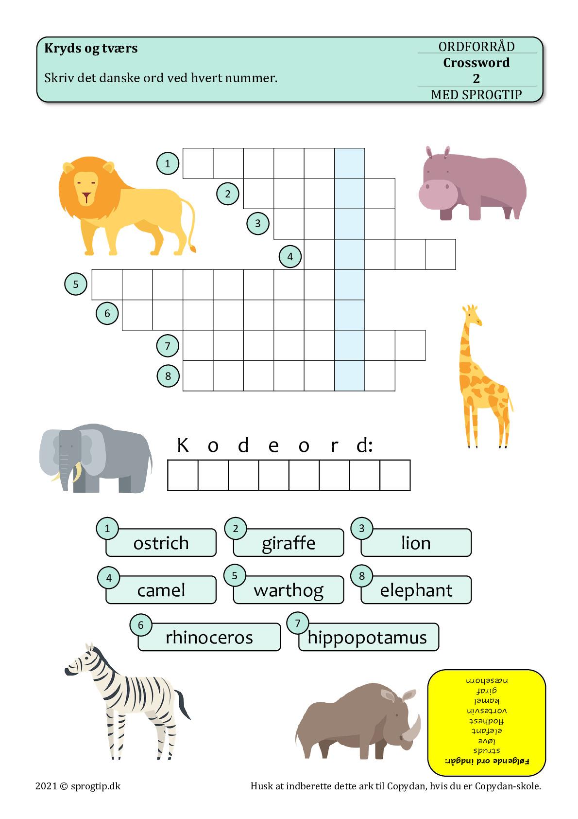 Kopiark/opgave:Crossword animals