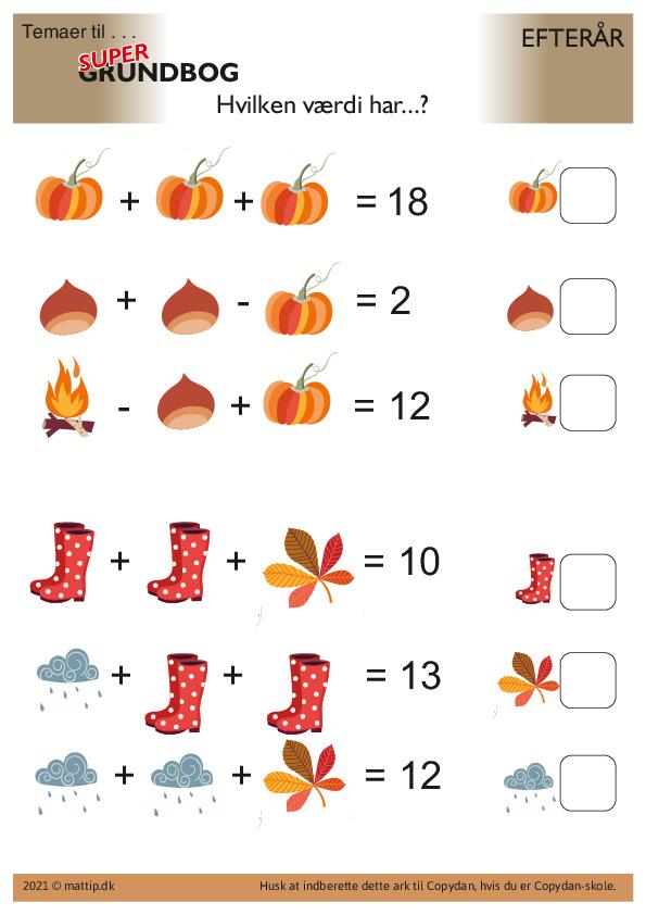 Kopiark/opgave:Efterår plus og minus 2