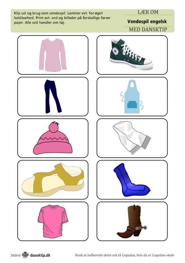 Kopiark/opgave:Vendespil Engelsk Tøj