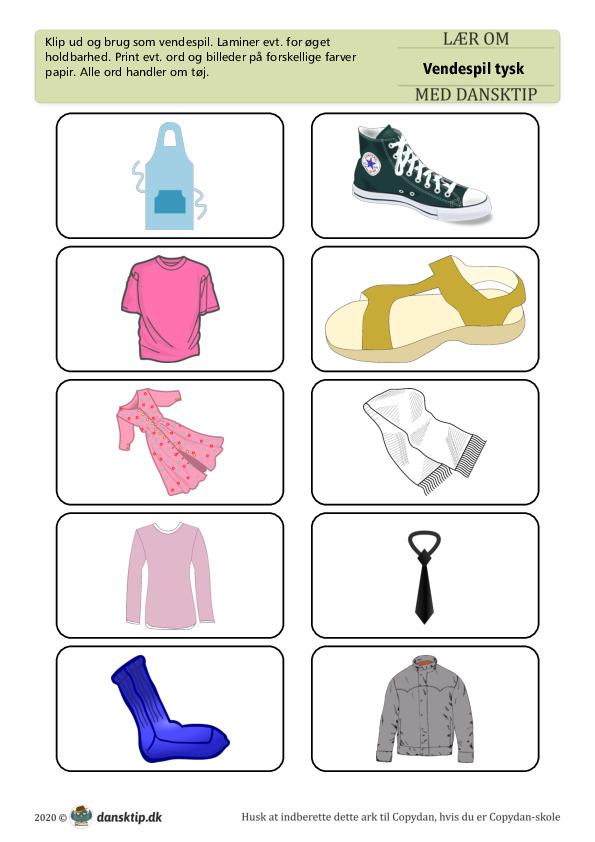 Kopiark/opgave:Vendespil Tysk Tøj