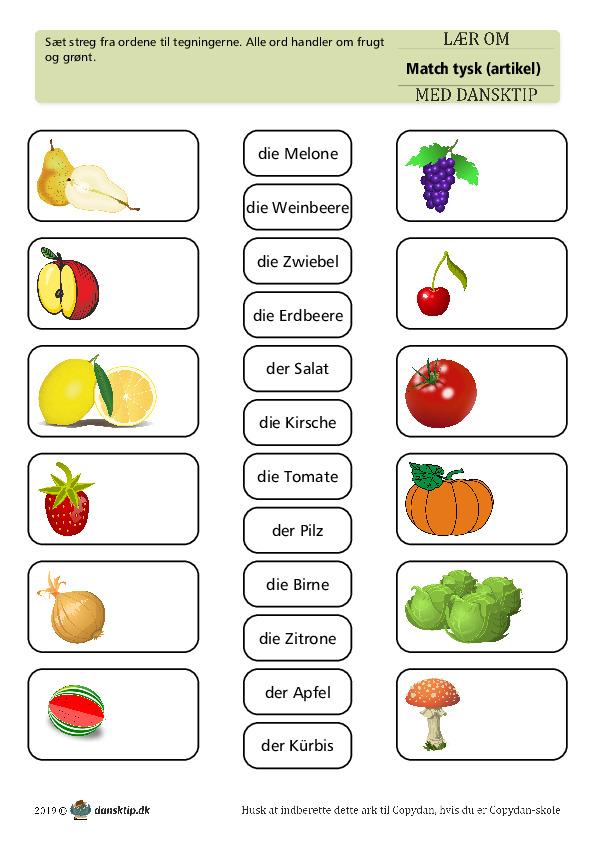 Kopiark/opgave:Match frugt med artikel 1