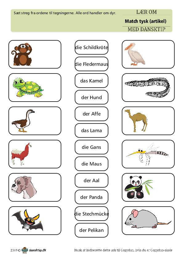 Kopiark/opgave:Match dyr med artikel 1