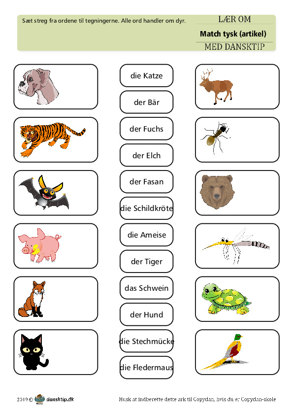 Kopiark/opgave:Match dyr med artikel 5