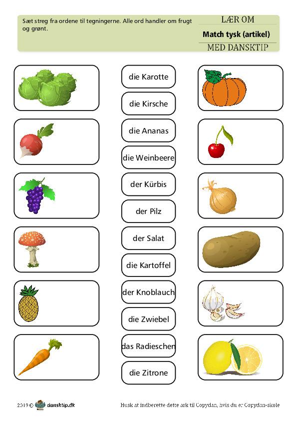 Kopiark/opgave:Match frugt med artikel 3