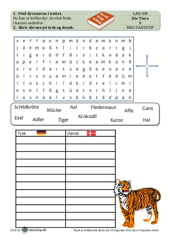 Kopiark/opgave:Tiere 5