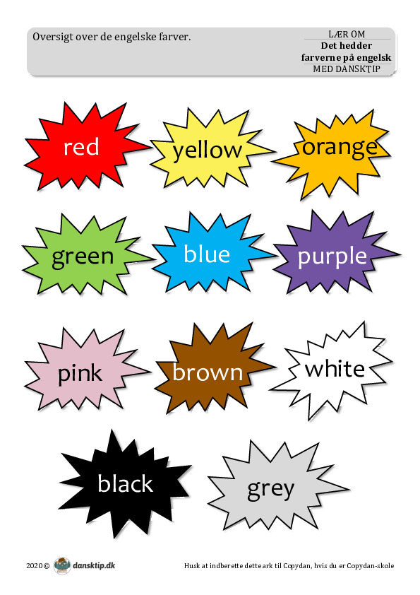 Kopiark/opgave:Det hedder farverne