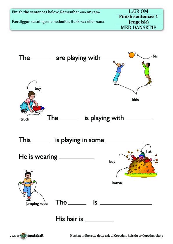 Kopiark/opgave:Finish sentences 1
