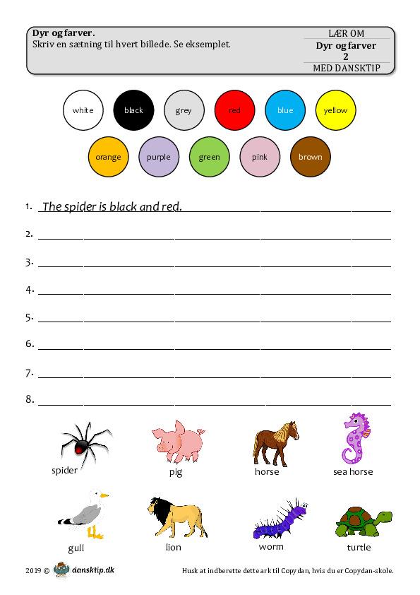 Kopiark/opgave:Dyr og farver 2
