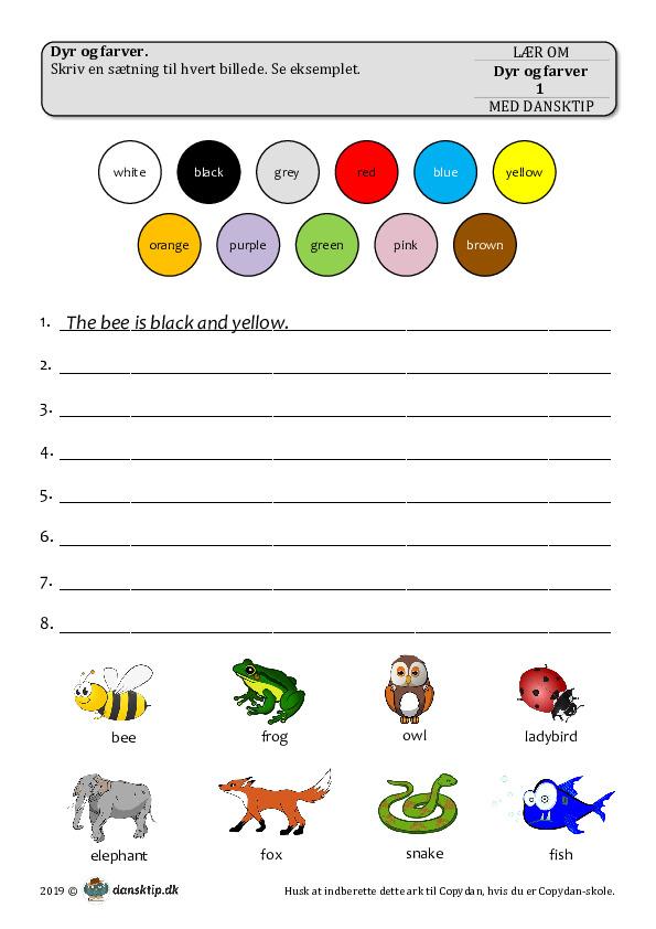 Kopiark/opgave:Dyr og farver 1