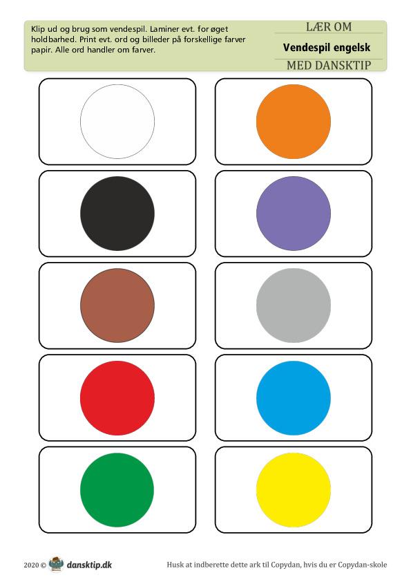 Kopiark/opgave:Vendespil Engelsk Farver